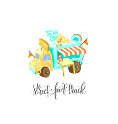 Street food truck with ice cream vector