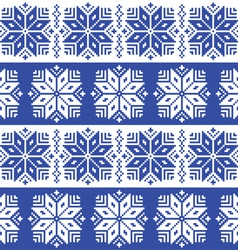 Traditional ornamental winter navy knitted pattern vector image