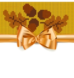 Gift bow with autumn knitted pattern 3 vector