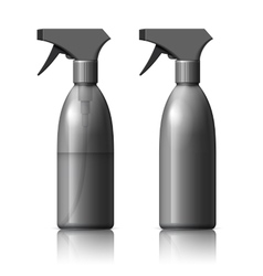 Realistic black cosmetics bottle can spray vector