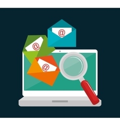 Laptop email searching data icon design vector