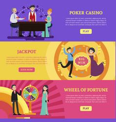 Colorful casino horizontal banners vector