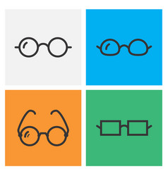 Black glasses icon collection vector
