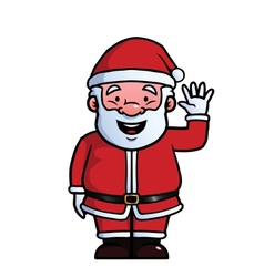 Santa claus waving at camera vector