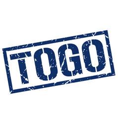 Togo blue square stamp vector