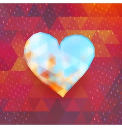 Heart on colorful triangles EPS 10 vector image