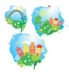 Set of Cartoons fairytale drawing images - houses vector image