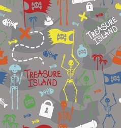 Pirate island color seamless print vector