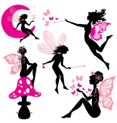 Set of silhouette fairy girls with butterflies vector