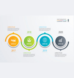 4 circle timeline infographic template business vector image