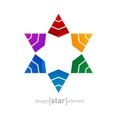 Original colorful star of david on white ba vector