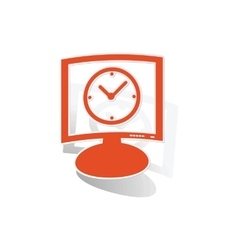 Time monitor sticker orange vector