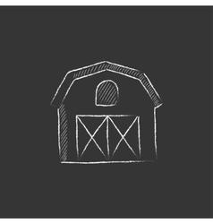 Farm building Drawn in chalk icon vector image