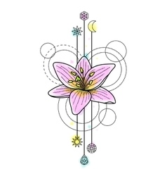 Abstract watercolor lily tattoo vector