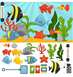 Aquarium tropical fishes and plants vector