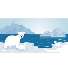 Arctic polar bear iceberg scene mother and baby vector