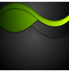 Black and green waves abstract background vector