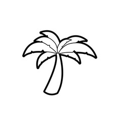 black thick contour of palm tree vector image