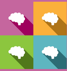 Brain icon with shade on different colors vector