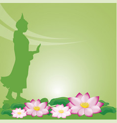 buddha statue and lotus of thai tradition visakha vector image