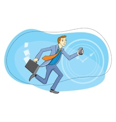 Businessman with phone in hand running vector image