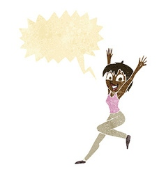 Cartoon excited woman with speech bubble vector
