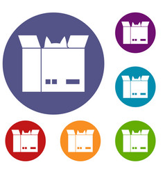 Cat in a cardboard box icons set vector