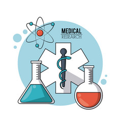Color poster medical research with symbol star of vector