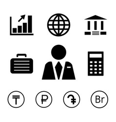 finance and bank icons with currency symbols vector image vector image