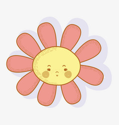 Flower angry kawaii with cheeks and eyes vector