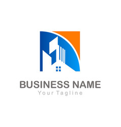 home realty building business company logo vector image vector image