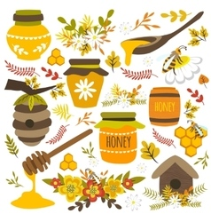 Honey hand drawn elements vector
