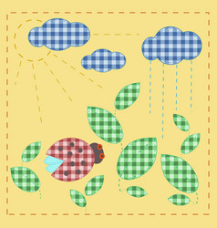 ladybug in leaves plaid textile applique vector image vector image