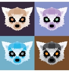 Low poly lemurs set vector