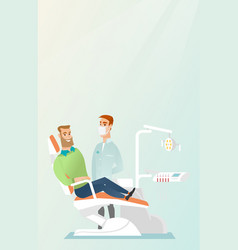 patient and doctor in the dentist office vector image vector image