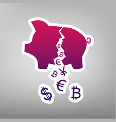 Pig money bank sign purple gradient icon vector