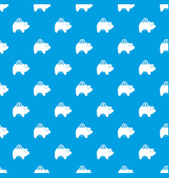 pig money box pattern seamless blue vector image