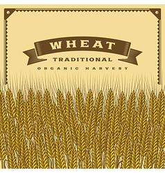 Retro wheat harvest card vector