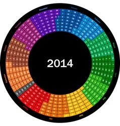 Round calendar 2014 vector image vector image