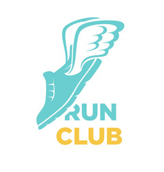 run club icon of sport sneaker shoe and vector image
