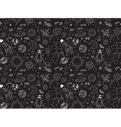 Seamless pattern cosmic objects set hand drawn vector