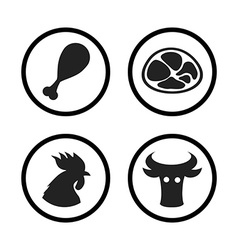 Set of Farm and Agriculture icons in black color vector image