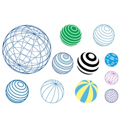 set of globes and balls vector image vector image