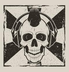skull music punk vintage grunge design vector image vector image