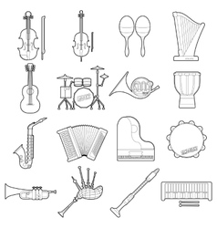 Musical instruments icons set outline style vector