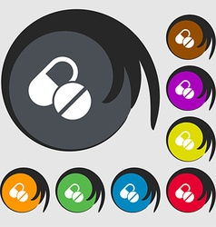 Medical pill icon sign symbols on eight colored vector