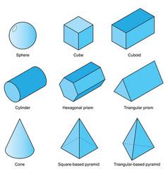 3d shape set vector image