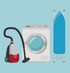 laundry room flat icons vector image