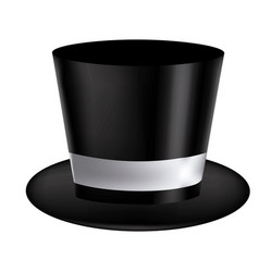 silhouette of realistic black hat with ribbon in vector image