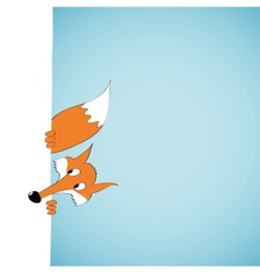 Peeping cartoon fox vector